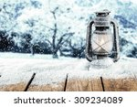 Wooden Desk Top And Snow And...