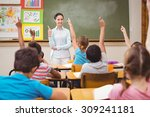 teacher asking a question to... | Shutterstock . vector #309241181