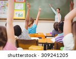 teacher teaching a lesson in... | Shutterstock . vector #309241205