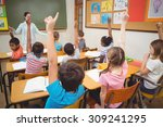 pupils raising their hands... | Shutterstock . vector #309241295
