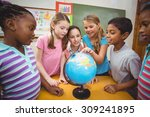 teacher and pupils looking at... | Shutterstock . vector #309241895