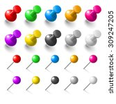 set of pushpins on white... | Shutterstock .eps vector #309247205
