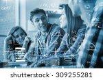 maths against smiling friends...   Shutterstock . vector #309255281