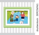 a picture of a family fishing... | Shutterstock .eps vector #309256961