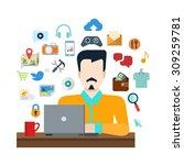 flat style online social media... | Shutterstock .eps vector #309259781