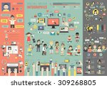 Social Media Infographic set with charts and other elements. Vector illustration. | Shutterstock vector #309268805