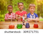 cute pupils standing with arms... | Shutterstock . vector #309271751