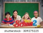 pretty teacher helping pupils... | Shutterstock . vector #309275225