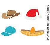 caps  hats and other head wear... | Shutterstock .eps vector #309275891