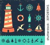 vector set vintage marine icons ... | Shutterstock .eps vector #309285041