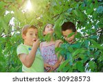 children on ladders eating bing ... | Shutterstock . vector #30928573