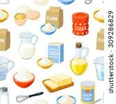seamless pattern with cartoon... | Shutterstock .eps vector #309286829
