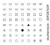 set of black laundry symbols on ... | Shutterstock .eps vector #309287639