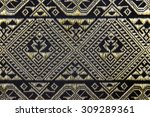 closeup fabric pattern ancient  ... | Shutterstock . vector #309289361