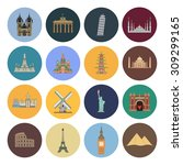 15 flat landmark icons | Shutterstock . vector #309299165