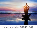 beautiful yoga and meditation... | Shutterstock . vector #309301649