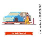 car body paint job. painting...   Shutterstock .eps vector #309308885