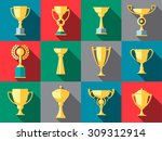 vector winner cup. trophy flat... | Shutterstock .eps vector #309312914