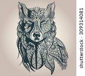ornamental vintage wolf... | Shutterstock .eps vector #309314081