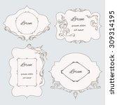 set vintage ornamental frame ... | Shutterstock .eps vector #309314195
