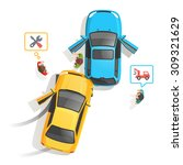 car traffic accident top view....   Shutterstock .eps vector #309321629