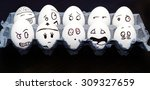 funny emotional eggs crying and ... | Shutterstock . vector #309327659
