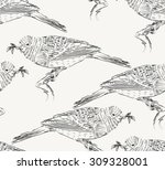 sketch of bird on a beige ... | Shutterstock .eps vector #309328001