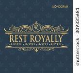 vintage vector monogram and... | Shutterstock .eps vector #309335681