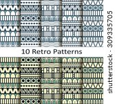 set of ten retro patterns | Shutterstock .eps vector #309335705