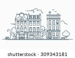 beautiful detailed linear... | Shutterstock .eps vector #309343181