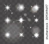 vector set of shining stars ... | Shutterstock .eps vector #309349697