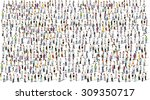 big group of people on white... | Shutterstock .eps vector #309350717