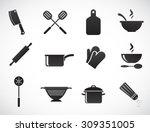 kitchen tools   vector icon set. | Shutterstock .eps vector #309351005