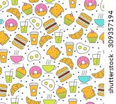 seamless vector food pattern.... | Shutterstock .eps vector #309357194