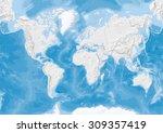 world map in van der grinten... | Shutterstock . vector #309357419