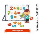 boy learns math doing addition  ... | Shutterstock .eps vector #309357905