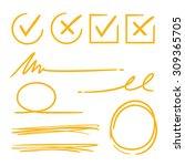 check mark  underline  marker... | Shutterstock .eps vector #309365705
