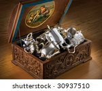 Carved Chest With Silver...