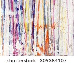 Small photo of Splattered paint on white background