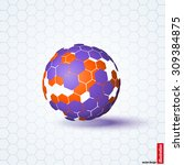 abstract sphere hexagons.... | Shutterstock .eps vector #309384875