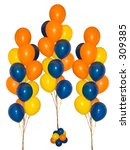 Three bunches of colorful balloons on a drop-out white background. - stock photo