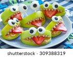 Spooky Green Apple Monsters Fo...