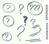 set hand drawn ovals  question... | Shutterstock .eps vector #309390509