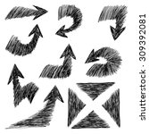 hand drawn arrows icons set ... | Shutterstock .eps vector #309392081