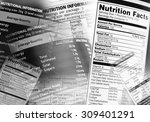 nutrition information facts on... | Shutterstock . vector #309401291