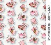 seamless pattern with  cartoon  ... | Shutterstock . vector #309403214