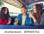 friends at party drinking... | Shutterstock . vector #309405761