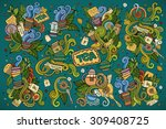 colorful vector hand drawn... | Shutterstock .eps vector #309408725
