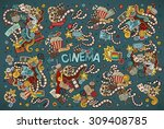 colorful vector hand drawn... | Shutterstock .eps vector #309408785