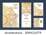 golden vintage ornate cards.... | Shutterstock .eps vector #309421079